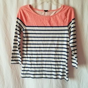J. Crew striped 3/4 sleeve top size small